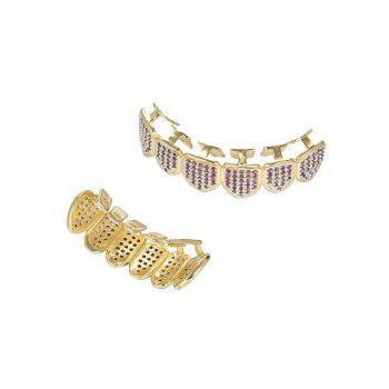 Rhinestone Geometric Top and Bottom Teeth Grillz Set -  PURPLE