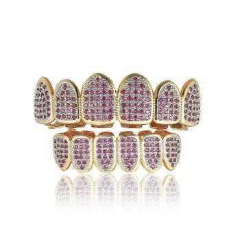 Rhinestone Geometric Top and Bottom Teeth Grillz Set - PURPLE PURPLE