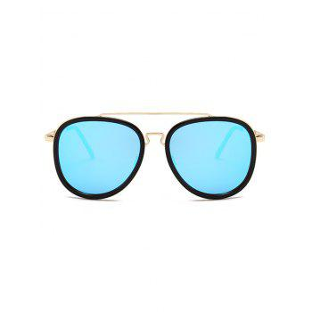 Anti UV Metal Full Frame Crossbar Pilot Sunglasses - BLUE