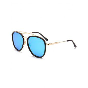 Anti UV Metal Full Frame Crossbar Pilot Sunglasses - BLUE BLUE