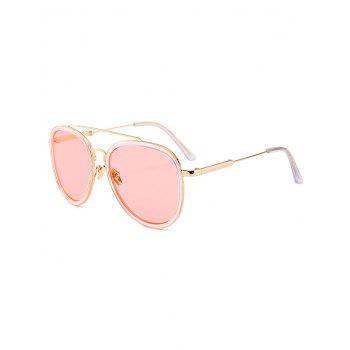 Anti UV Metal Full Frame Crossbar Pilot Sunglasses - LIGHT PINK LIGHT PINK