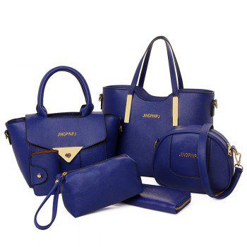 Metal 6 Pieces Letter Shoulder Bag Set - BLUE BLUE