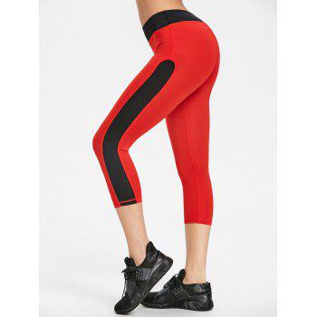Two Tone Cropped Gym Leggings - RED WITH BLACK RED/BLACK