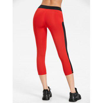 Two Tone Cropped Gym Leggings - RED/BLACK L