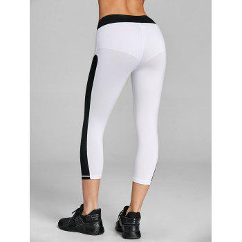 Two Tone Cropped Gym Leggings - WHITE/BLACK 2XL