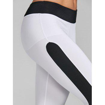 Two Tone Cropped Gym Leggings - WHITE/BLACK WHITE/BLACK
