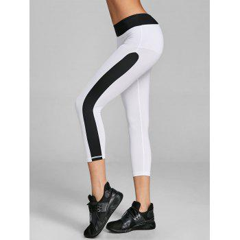 Two Tone Cropped Gym Leggings - WHITE AND BLACK WHITE/BLACK