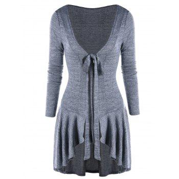 Bow Tie Neck Heathered High Low Cardigan - GRAY GRAY