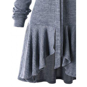 Bow Tie Neck Heathered High Low Cardigan - GRAY M