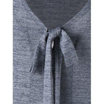 Bow Tie Neck Heathered High Low Cardigan - GRAY 2XL