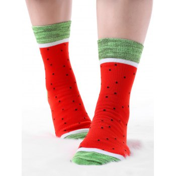Pair Of Watermelon Crew Socks - RED RED