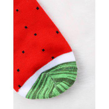 Pair Of Watermelon Crew Socks - RED