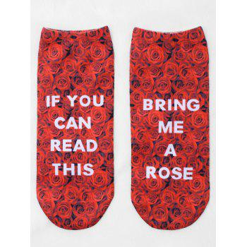 Pair Of Graphic Letter Rose Print Ankle Socks - RED RED