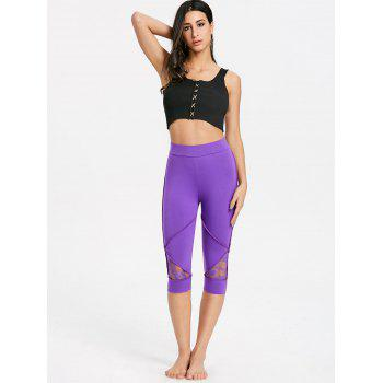 Lace Insert High Waisted Capri Leggings - PURPLE XL