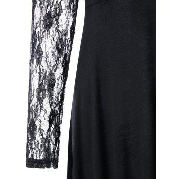Lace Insert Maxi High Low Dress - BLACK M