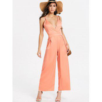 Backless Spaghetti Strap Jumpsuit - PINK M
