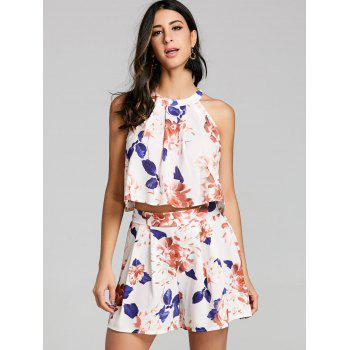 Floral Shorts Two Piece Set - OFF WHITE L