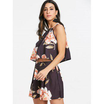 Floral Shorts Two Piece Set - BLACK L