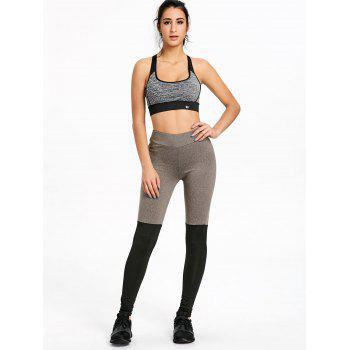 Two Tone Slim Yoga Stirrup Leggings - GRAY/BLACK S