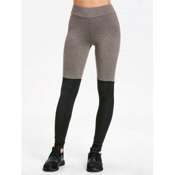 Two Tone Slim Yoga Stirrup Leggings - GRAY/BLACK L
