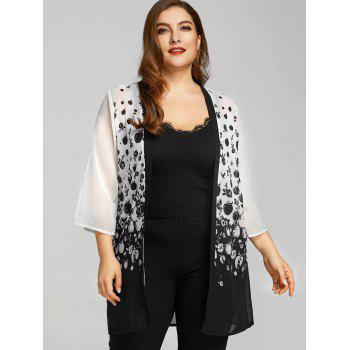 Plus Size Sheer Monochrome Apples Kimono - WHITE/BLACK WHITE/BLACK