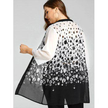 Plus Size Sheer Monochrome Apples Kimono - WHITE AND BLACK WHITE/BLACK