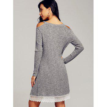 Lace Trim Open Shoulder Swing Dress - GRAY GRAY