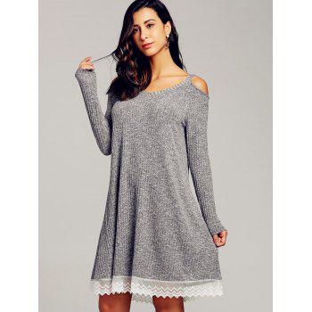 Cold Shoulder Swing Dress - GRAY L