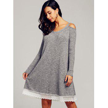 Lace Trim Open Shoulder Swing Dress - GRAY 2XL