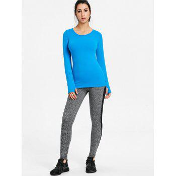Sports Skinny Breathable Long Sleeve T-shirt - BLUE BLUE