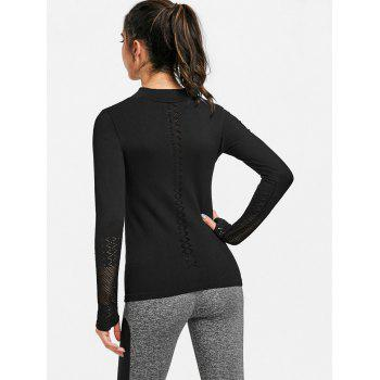 Sports Breathable Half Zip Up  T-shirt - BLACK M