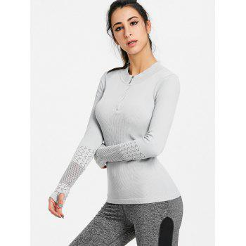Sports Breathable Half Zip Up  T-shirt - GRAY GRAY