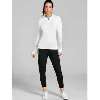 Sports Breathable Half Zip Up  T-shirt - WHITE L