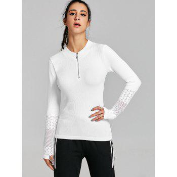 Sports Tee-shirt demi-zip respirant - Blanc M