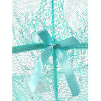 Lace See Thru Thong Teddy - LAKE GREEN M