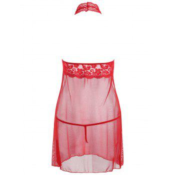 Halter Lace Mesh Low Back Babydoll - RED M