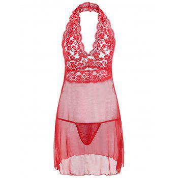 Halter Lace Mesh Low Back Babydoll - RED RED