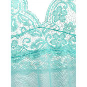 Halter Lace Mesh Low Back Babydoll - LAKE GREEN LAKE GREEN