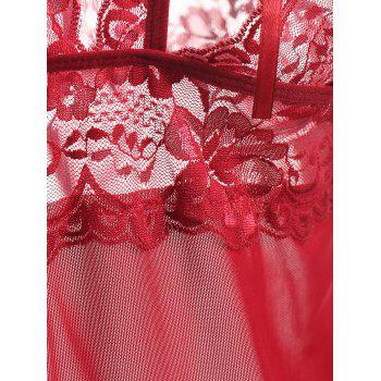 Mesh Slip Babydoll with Lace - WINE RED XL