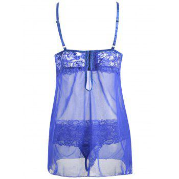 Mesh Slip Babydoll with Lace - BLUE S
