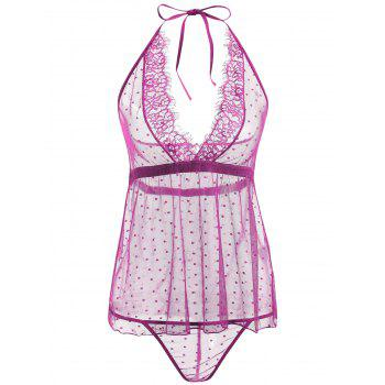 Lace Sheer Low Back Babydoll - PURPLE PURPLE