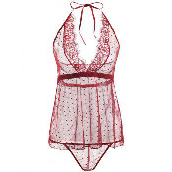 Lace Sheer Low Back Babydoll - WINE RED WINE RED