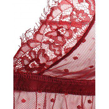Lace Sheer Low Back Babydoll - WINE RED S