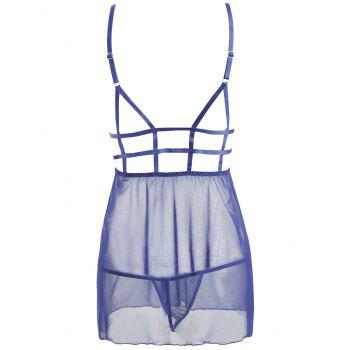 Caged Lace Mesh Slip Babydoll - BLUE S