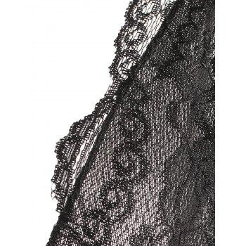 Caged Lace Mesh Slip Babydoll - BLACK S