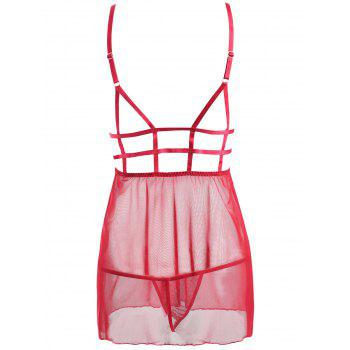 Caged Lace Mesh Slip Babydoll - RED RED