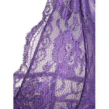 Caged Lace Mesh Slip Babydoll - PURPLE S