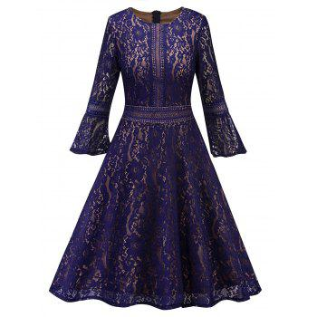 Bell Sleeve Fit and Flare Lace Dress - PURPLE PURPLE