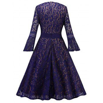 Bell Sleeve Fit and Flare Lace Dress - PURPLE 2XL