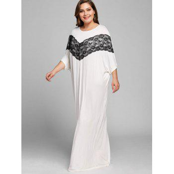 Lace Panel Batwing Sleeve Plus Size Long Dress - WHITE 3XL